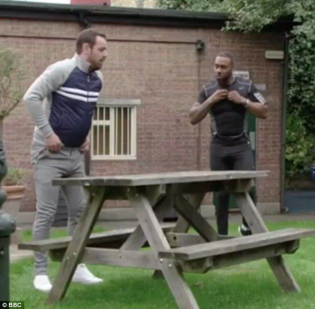 Battle of the bulges! Danny Dyer and Richard Blackwood sparked excited reactions from fans as they worked out in very revealing outfits during Thursday night's episode of EastEnders