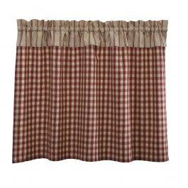 Un+petit+rideau+campagnard+en+tissu+vichy+rouille/ficelle+avec+empiècement+supérieur+rayé