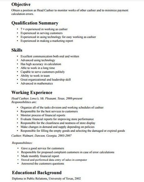 Cashier resume job description examples
