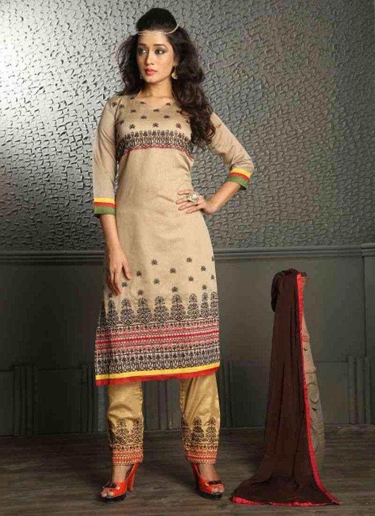 Beige Chanderi Embroidery Designer Salwar Suit