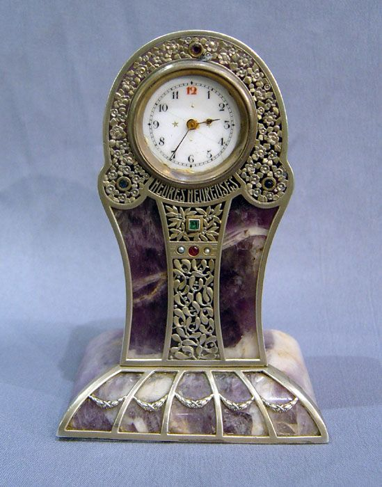 Antique French Art Nouveau silver, jewelled and amethyst, cased miniature boudoir clock - Gavin Douglas Antiques