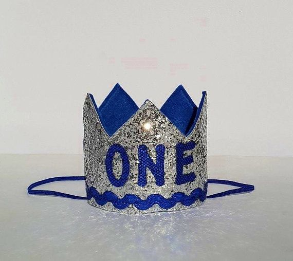 Baby Boy First Birthday Crown Silver and by SewAdorableTreasures