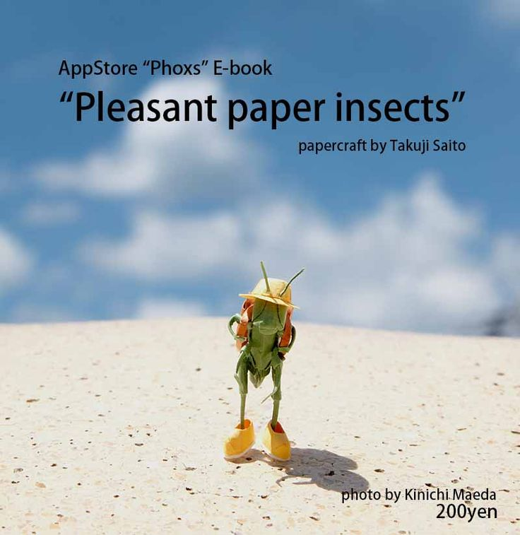 "The paper insects will warm your heart. Please download free App ""Phoxs"" from AppStore. E-book ""Pleasant paper insects"" 200yen https://itunes.apple.com/us/app/phoxs/id665043611?mt=8 You can purchase the originar photograph from website. www.phoxs.net"