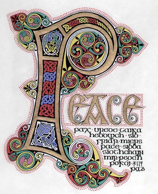 Illuminated letter P in Peace