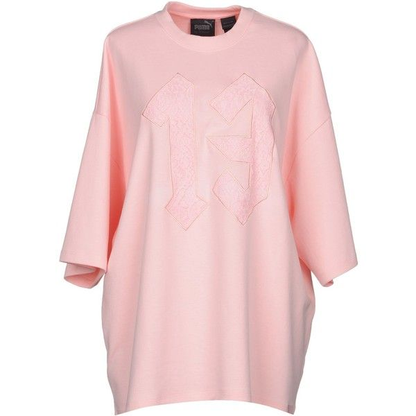 Fenty Puma By Rihanna T-shirt ($83) ❤ liked on Polyvore featuring tops, t-shirts, pink, embroidery t shirts, pink lace top, pink t shirt, puma t shirts and lace tops