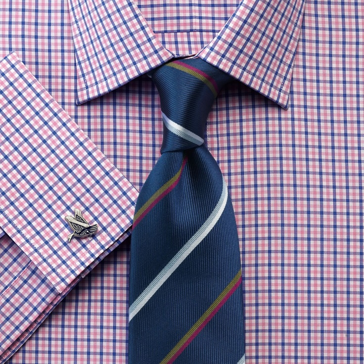 Pink and blue gingham check slim fit shirt | Slim fit dress shirts from Charles Tyrwhitt | CTShirts.com