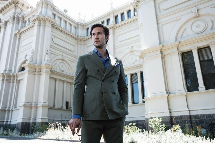 Demaret khaki jacket; Demaret khaki trouser; Donchian denim shirt; Dessole navy pocketsquare.