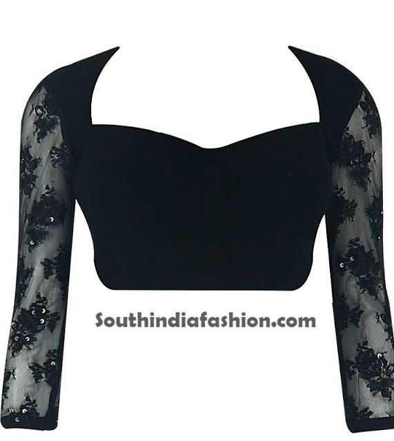 Saree Blouse Designs With Net Sleeves ~ Celebrity Sarees, Designer Sarees, Bridal Sarees, Latest Blouse Designs 2014 South India Fashion
