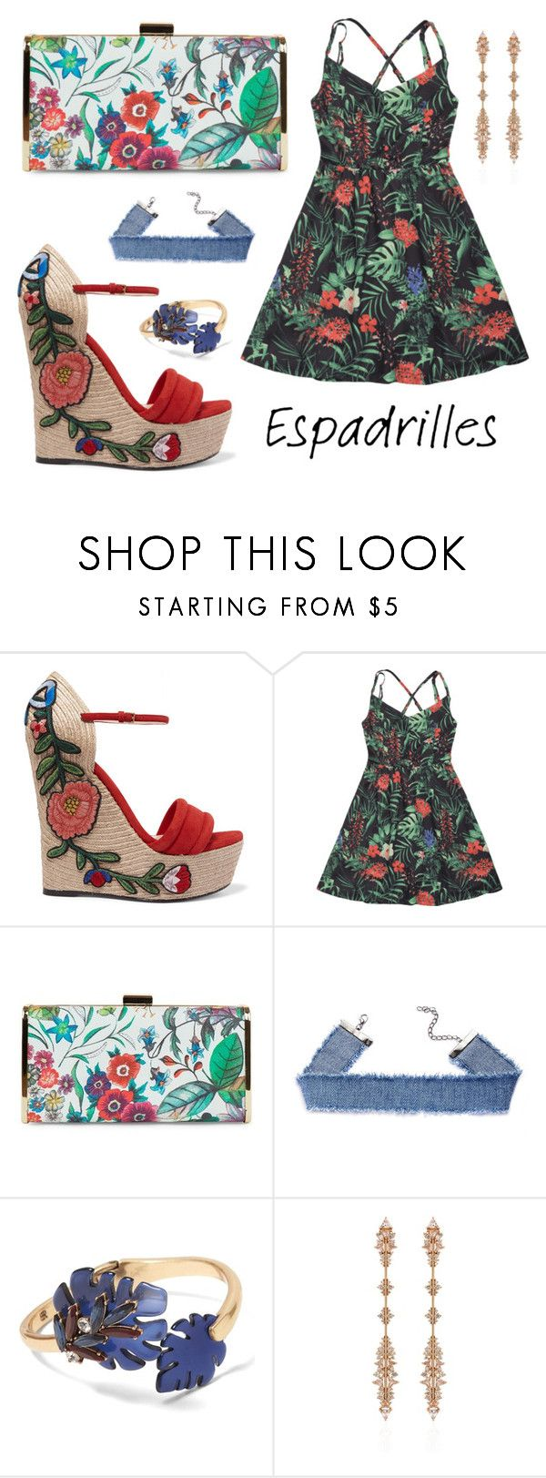 """""""Summer Jungle Flower"""" by leiastyle on Polyvore featuring Gucci, Jessica McClintock, Banana Republic and Fernando Jorge"""