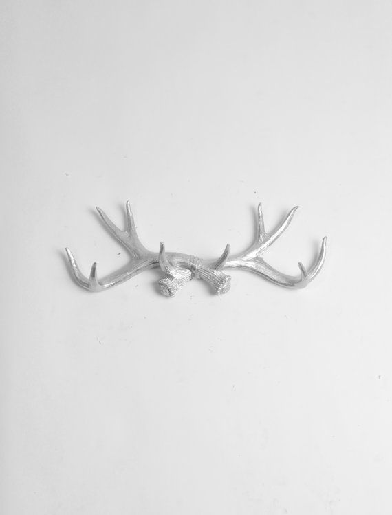 Faux Deer Antler Decor in Silver  Antler door WhiteFauxTaxidermy