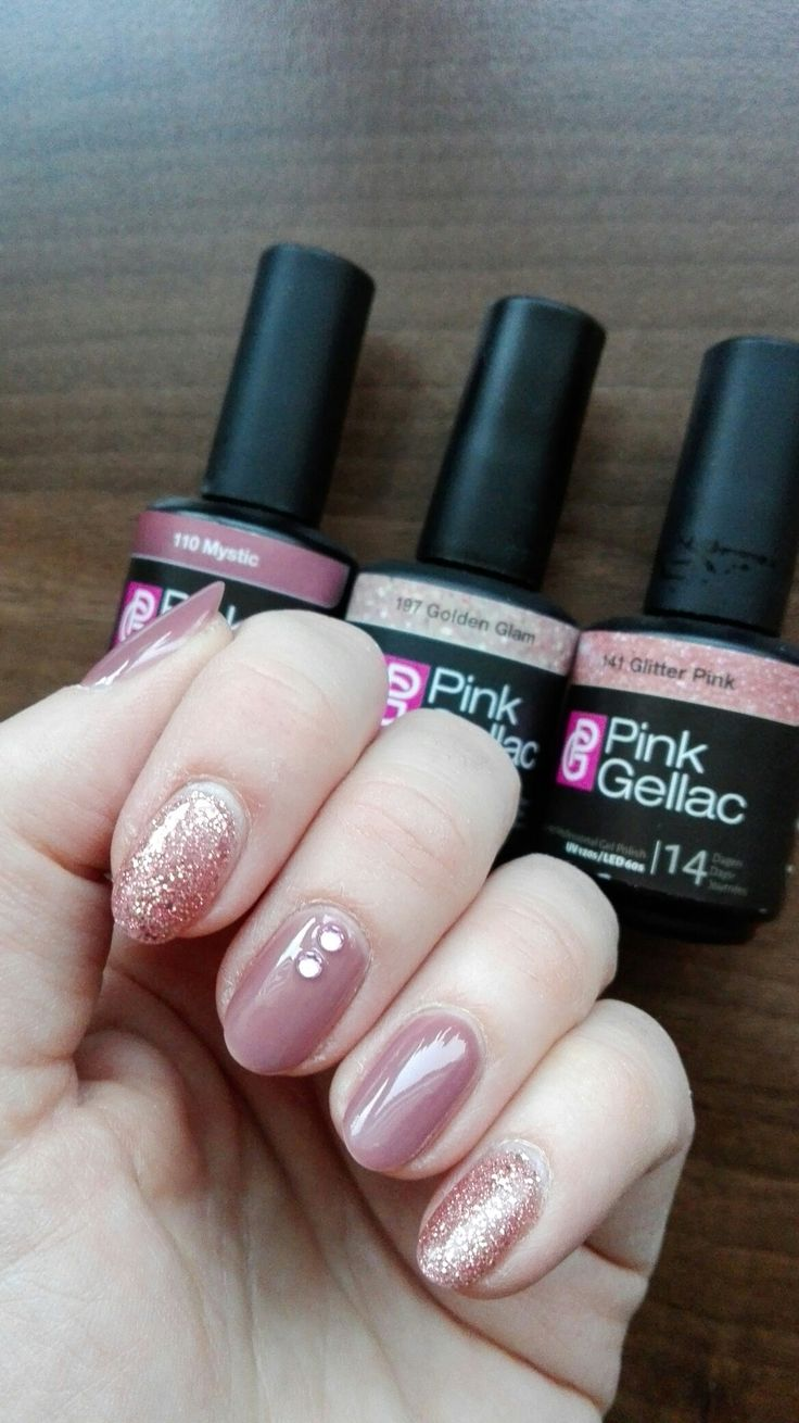 Pink Gellac mystic, golden glam over glitter pink.