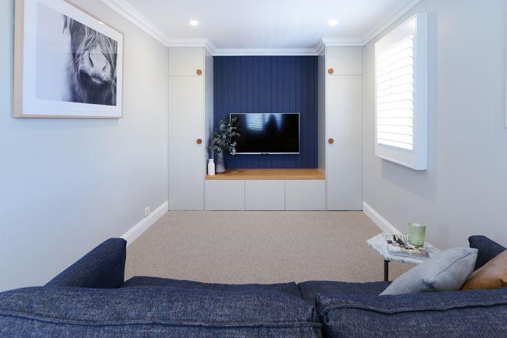 Clean, contemporary rumpus room designed by Alix Helps Interiors