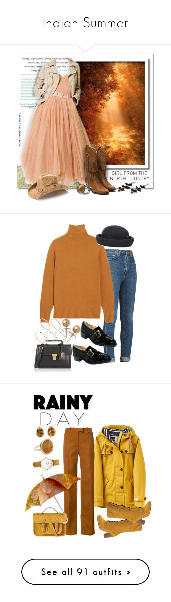"""""""Indian Summer"""" by fashionundercovergirl ❤ liked on Polyvore featuring JULIANNE, Jean-Paul Gaultier, Peter Grimm, modern, country, Yves Saint Laurent, Chloé, Joan & David, Pieces and Maison Michel"""