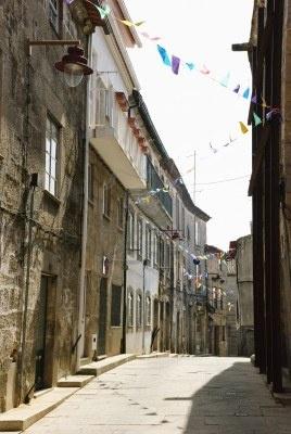 Street, en el centro histórico de Guarda, Portugal