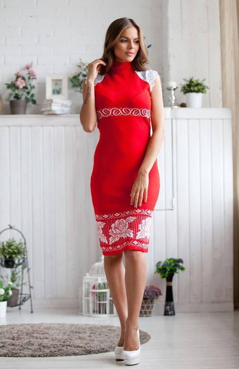 "Womanly knit dress ""Red Lipstick"" with lace and floral jacquard pattern"