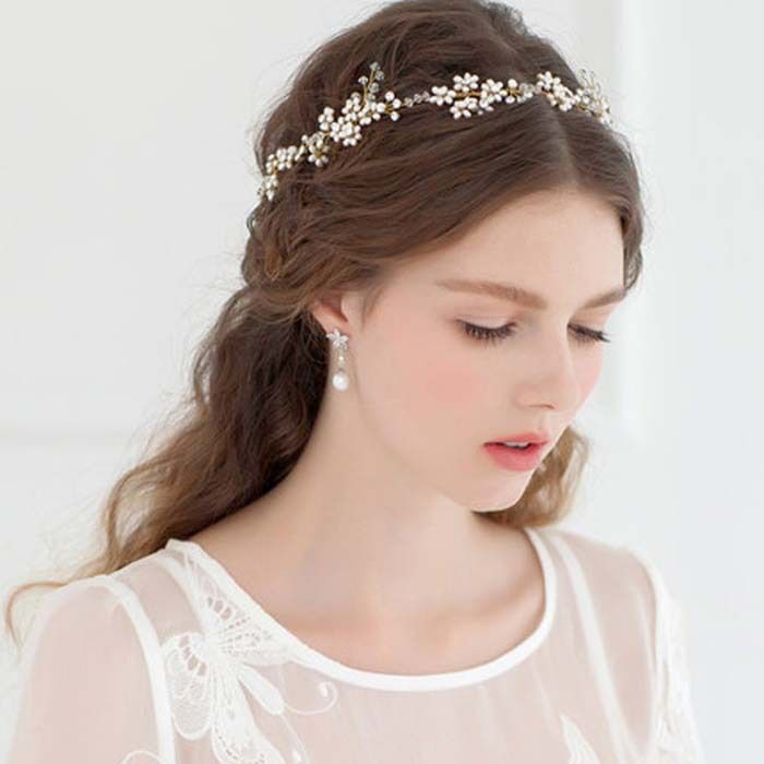 Handmade Gold Crystal Pearl Tiara Wedding Hair Accessories Bridal Headband with Ribbon