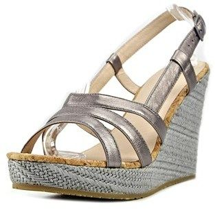 Pika Capizzi Women Open Toe Leather Gray Wedge Heel.
