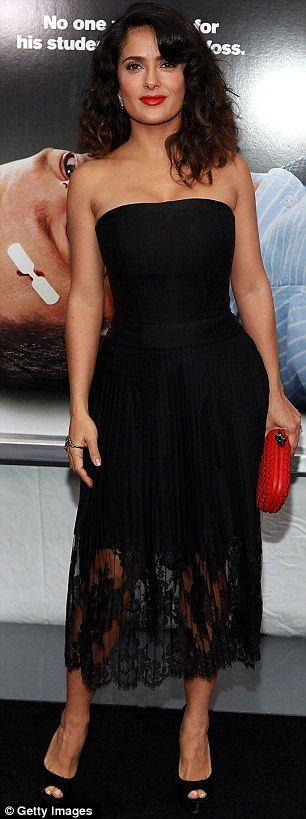 Salma Hayek:  The actress looked great in a black fitted dress with lace detail