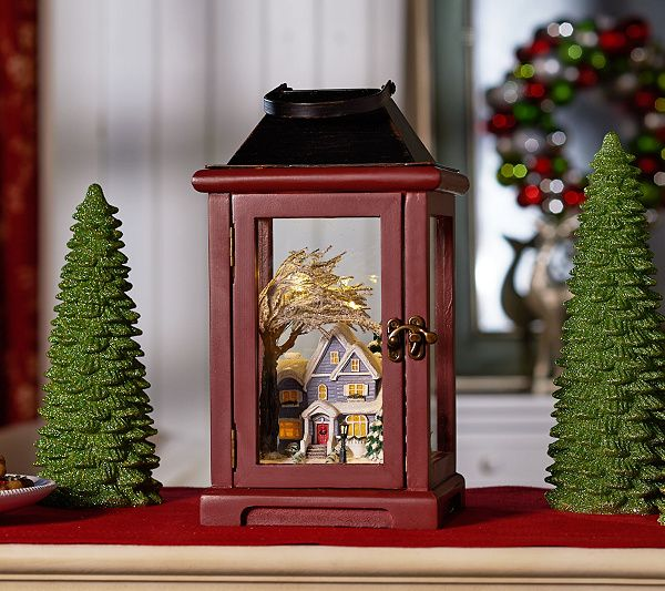 This Valerie Parr Hill Lantern Holds More Than Light Inside You Ll Find A Cozy Scene For The Season Qvc Com Christmas