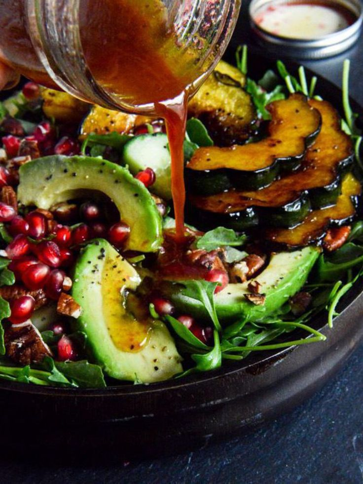 Salade de courges caramélisées et grenade
