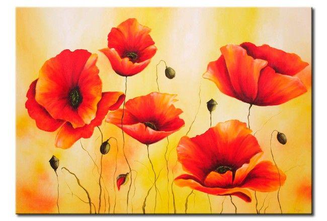 Leinwandbild Subtile Mohnblume Mohn Malerei Kunstmalerei Blumen Leinwandgemalde