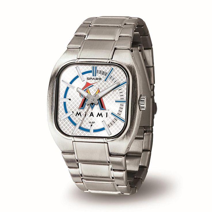 "Rico MLB Team Logo ""Turbo Series"" Silvertone Bracelet Watch - Florida Marlins"