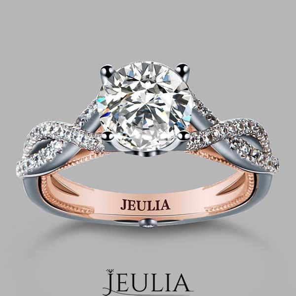 Twist Style Brilliant Cut Solitaire Accents Engagement Ring / Bridal Set. #jeulia #engagementring #fashionjewelry