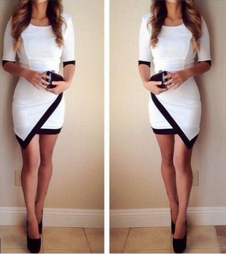 2015 Mini Dresses Women Bodycon Cocktail Dress 3/4 Sleeve Party Black White Night Club Sexy Dress