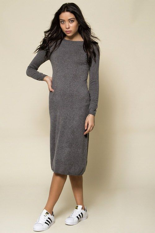 One size μάλλινο midi φόρεμα