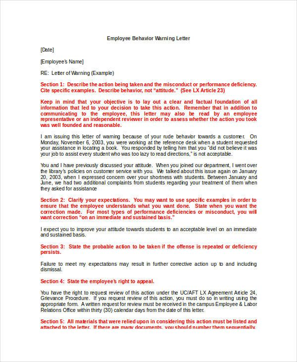 13 Employee Warning Letter Templates Lettering Templates