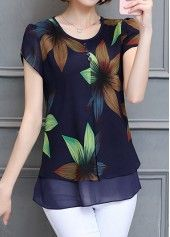 Petal Sleeve Layered Printed Navy Blouse | Rosewe.com - USD $27.29
