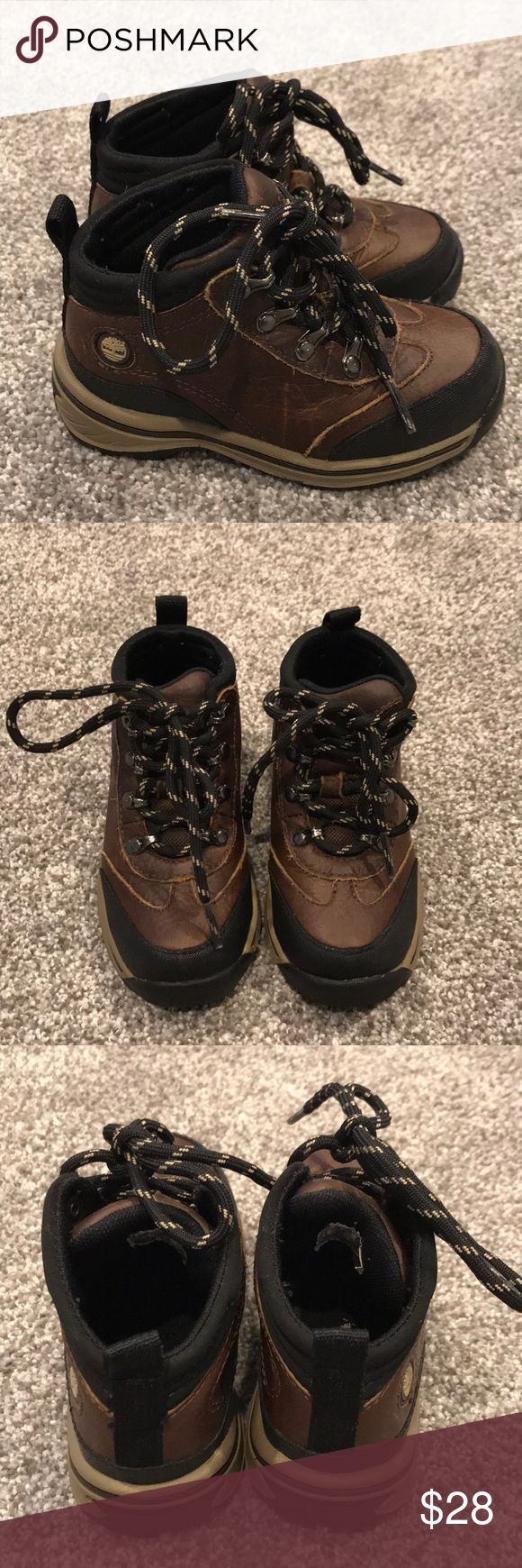Toddler Timberland Boots Toddler Lace Up Timberland Boots. Brown Leather With Black And Tan Rubber Sole. Worn In Not Worn Out!! Great Condition! Timberland Shoes Boots