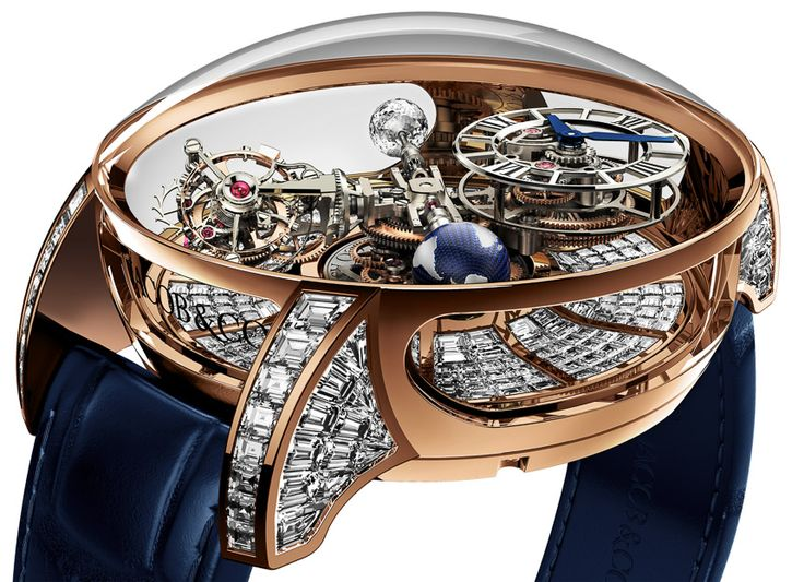"""Jacob & Co. Astronomia Tourbillon Baguette Watch For $1,015,000 - on aBlogtoWatch.com """"Last year in 2014, Jacob & Co. debuted a very interesting watch with an extravagant movement they called the Astronomia Tourbillon... The sheer complexity of the movement in the watch requires a lot of tweaking to make it work and years of effort. For 2015, however, it looks like the Jacob & Co. Astronomia Tourbillon is back with a new case design as well as a very much 'Jacob & Co...'"""""""