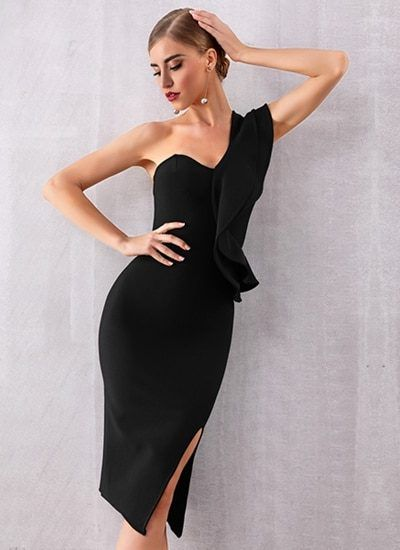 465a8c0662 Black Dress One Shoulder Midi Dress Bodycon Dress One Shoulder Midi Dress  Bodycon Dress Get this gorgeous dress for your special night Excellent  quality of ...