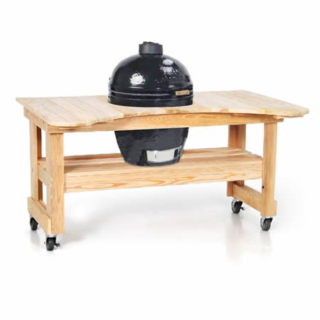 Primo Kamado Kamado Grill with Cypress Table.  A very nice option.  Functional and better looking than BGE in my opinion.
