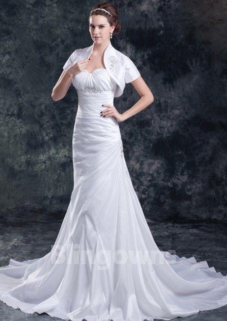 Sweep Beads Wrap Sweetheart White A-line Sleeveless Zipper Taffeta Wedding Dresses