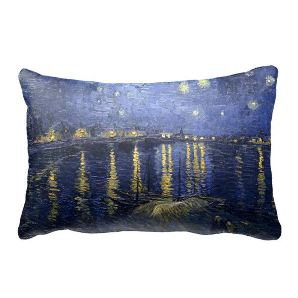 """Starry Night Over the Rhone 30"""" x 20"""" Queen Size Pillow Case White 30""""... ($27) ❤ liked on Polyvore featuring home, bed & bath, bedding, bed sheets, white pillowcases, personalized pillowcases, personalized pillow cases, white queen bedding and queen bed linens"""