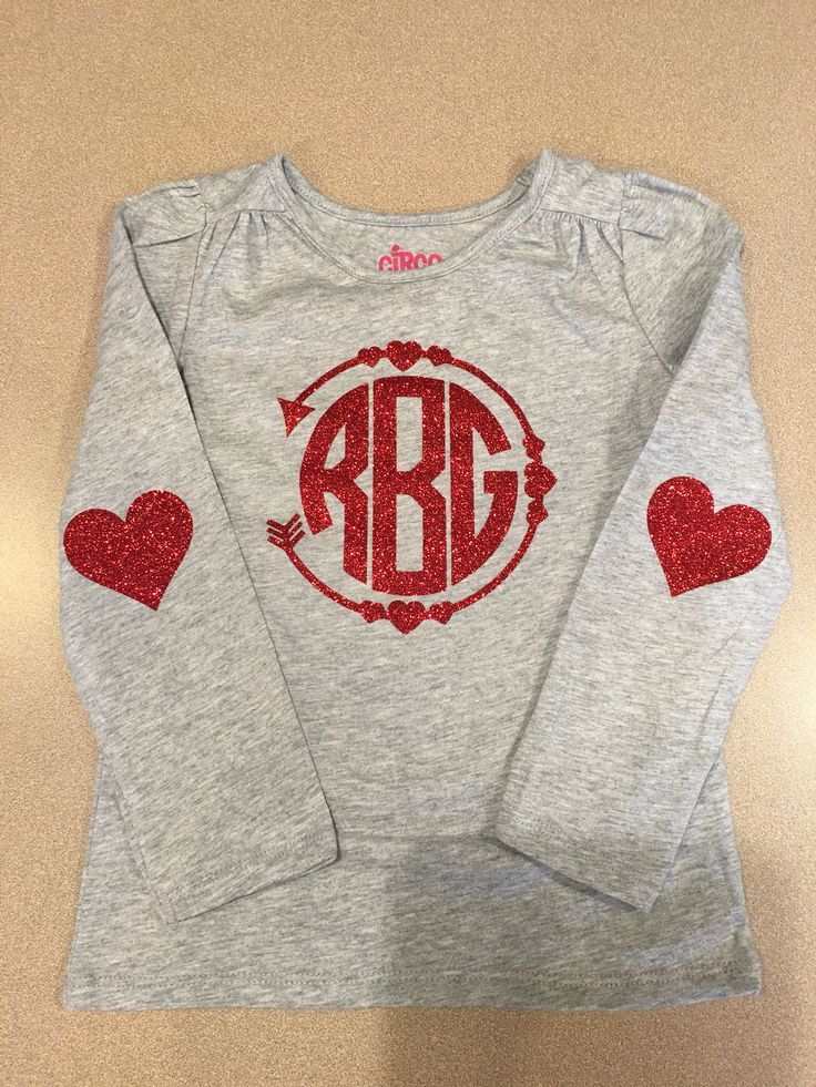 Valentine monogram shirt heart arrow elbow vinyl to heat transfer girl