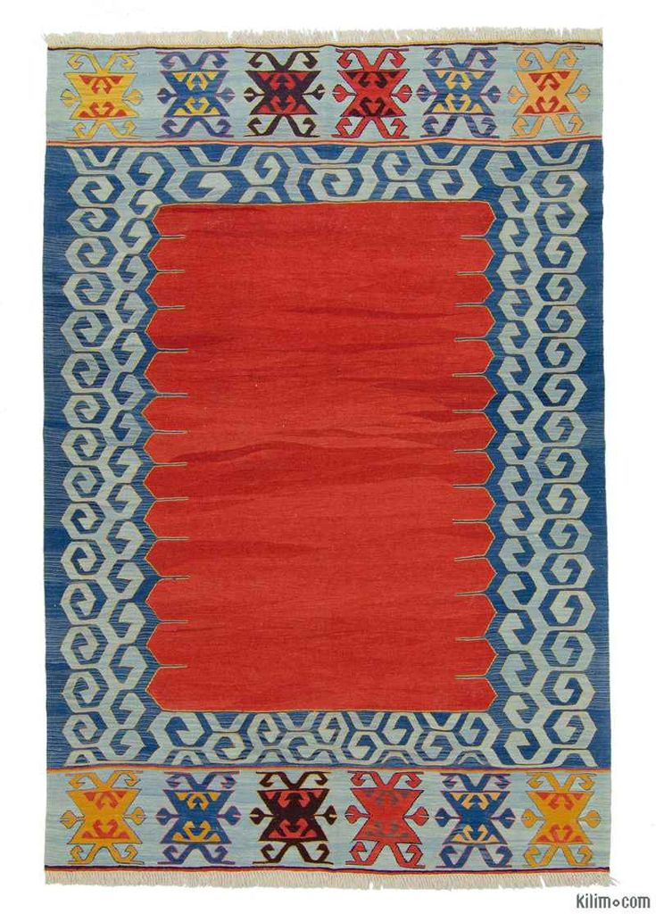 """6'6""""x9'8""""$1439 K0008692 Red New Turkish Kilim Rug   Kilim Rugs, Overdyed Vintage Rugs, Hand-made Turkish Rugs, Patchwork Carpets by Kilim.com"""