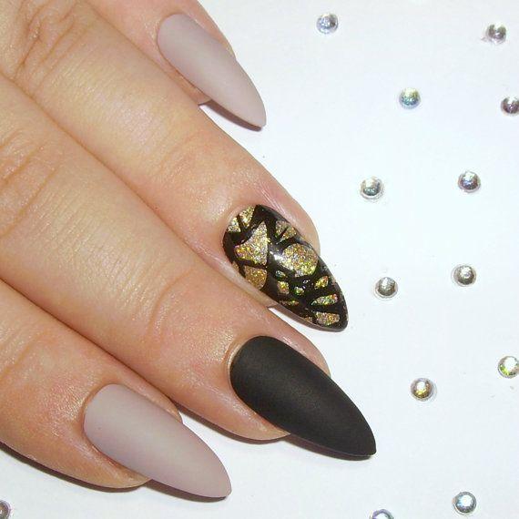 Matte Stiletto Nails   Press On Nails  Glue by SarahsSparklesNails