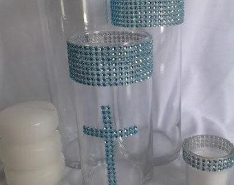 Baptism Centerpieces Ideas for Boys | Baby Christening Centerpiece Set - You Choose Colors ...
