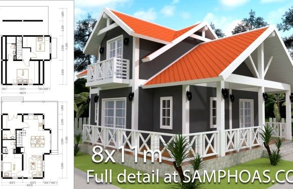 2 Story House Plan 8x11m With 3 Bedrooms In 2020 House Plans Small House Design Plans House Design