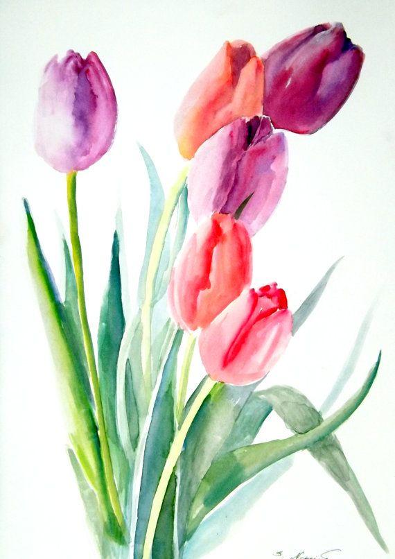 Tulipanes Acuarela original pintura 12 X 9 por ORIGINALONLY en Etsy