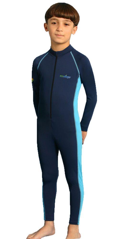 BOYS FULL BODY SUN PROTECTION CHLORINE RESISTANT SWIMWEAR STINGER SUIT NAVY BLUE #ecostinger #Swimsuit