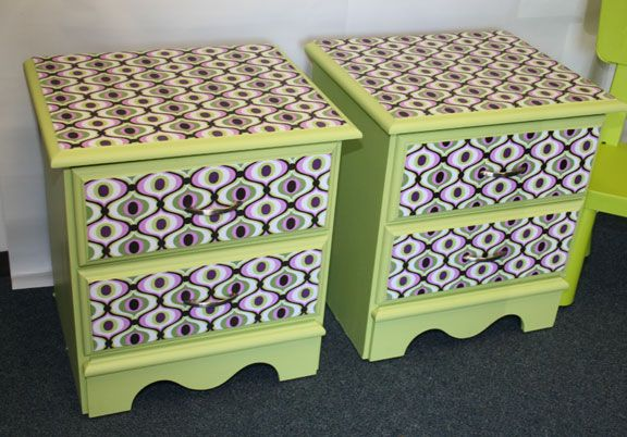 decoupage ideas for furniture. fabric decoupaged nightstands with mod podge decoupage ideas for furniture