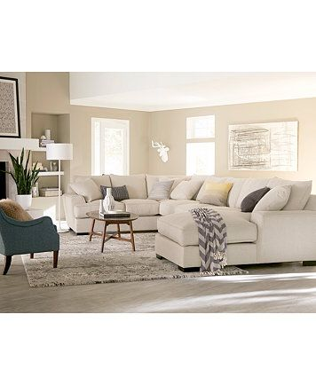 Ainsley 3-Pc. Sectional with Chaise & 2 Throw Pillows- Custom Colors, Only at Macy's - Furniture - Macy's