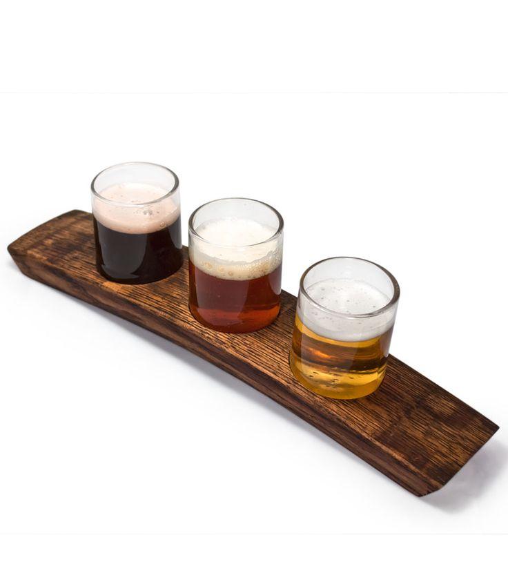 Portland Reclaimed Wood Beer Flight Holder u0026 3 Glasses ...