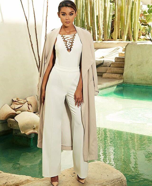 The Karija pants, the Natala bodysuit and the Arno trench coat. Shop:http://buff.ly/1Lxaa3O