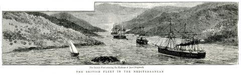 Ο βρετανικός στόλος εισέρχεται στον κόλπο της Γέρας στη Λέσβο.