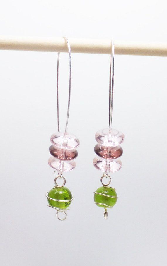 Peridot Green Glass with Pink and Plum Glass on Long by tzteja, $12.00  #jewelry, #earrings, #beaded, #designsbytamiza, #handmade, #ooak, #glass, #peridot, #green, #pink, #plum